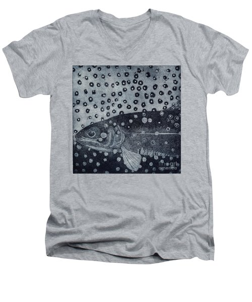 Unique Etching Artwork - Brown Trout  - Trout Waters - Trout Brook - Engraving Men's V-Neck T-Shirt