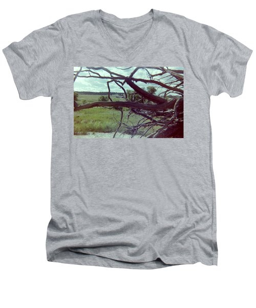 Men's V-Neck T-Shirt featuring the photograph Uprooted by Bonfire Photography