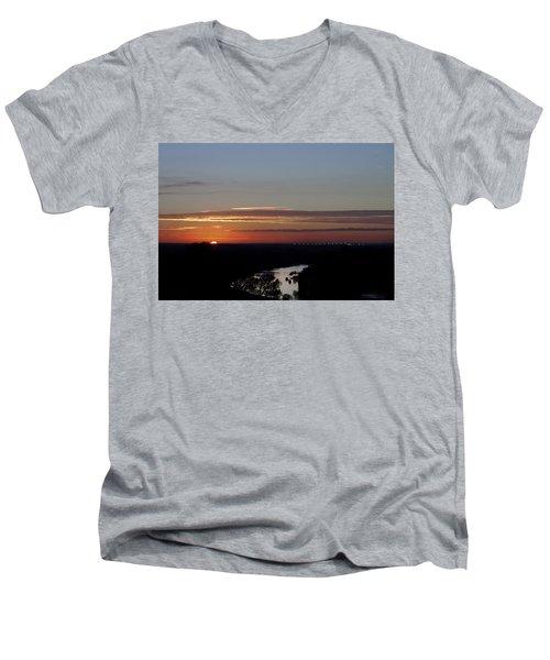 Men's V-Neck T-Shirt featuring the photograph Vanishing Sunset by Maj Seda