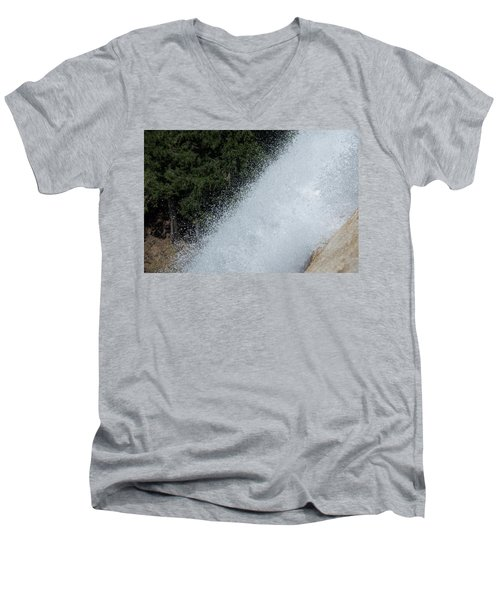 Vernal Falls On The Mist Trail At Yosemite Np Men's V-Neck T-Shirt