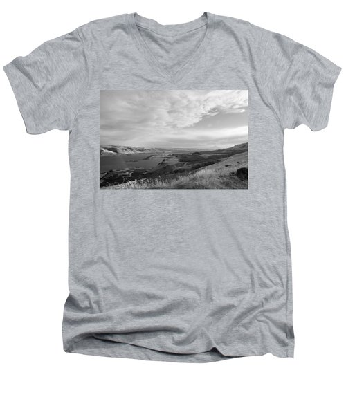 Men's V-Neck T-Shirt featuring the photograph View From The Hill Columbia River by Kathleen Grace