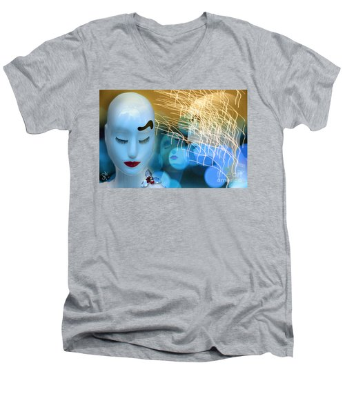 Men's V-Neck T-Shirt featuring the digital art Virginal Shyness by Rosa Cobos