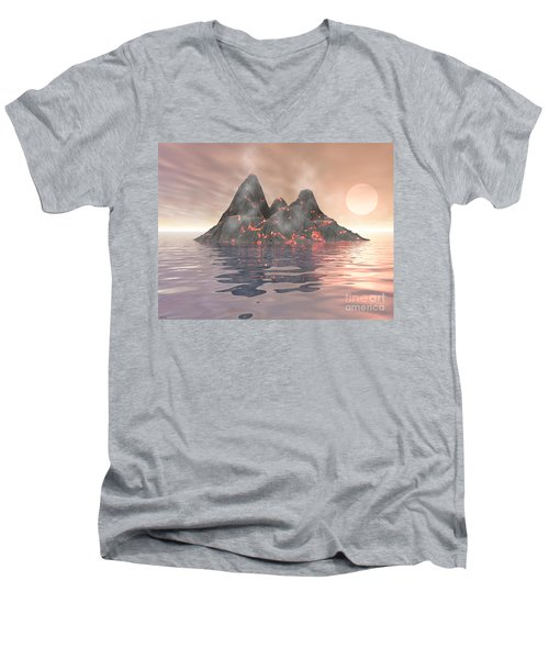 Men's V-Neck T-Shirt featuring the digital art Volcano Island by Phil Perkins