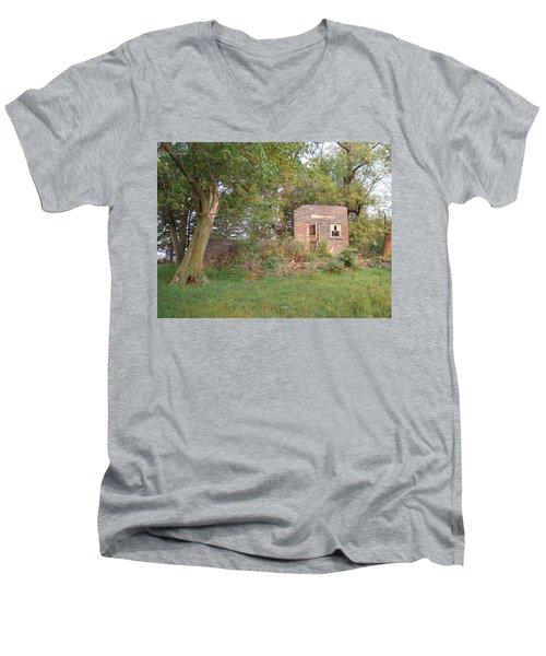 Men's V-Neck T-Shirt featuring the photograph Walnut Grove School Ruins by Bonfire Photography