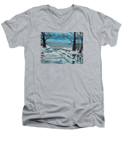 Washoe Winter Men's V-Neck T-Shirt by Dan Whittemore