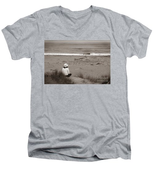 Watching The Ocean In Black And White Men's V-Neck T-Shirt