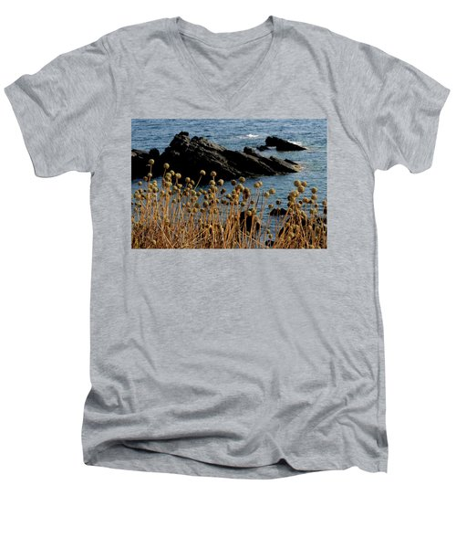 Men's V-Neck T-Shirt featuring the photograph Watching The Sea 1 by Pedro Cardona