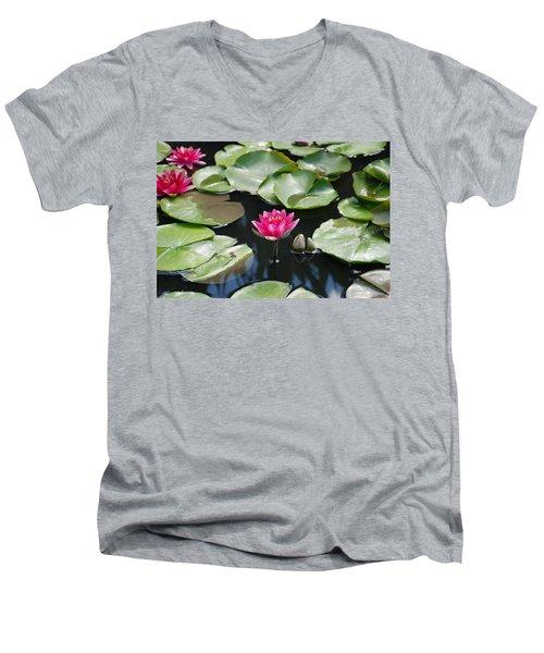 Men's V-Neck T-Shirt featuring the photograph Water Lilies by Jennifer Ancker