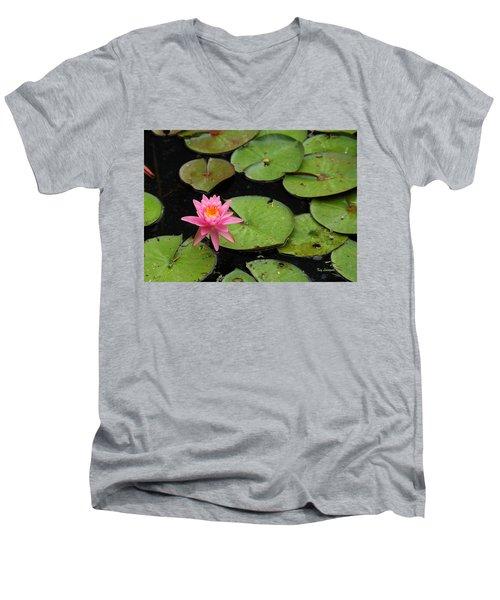 Water Lily Men's V-Neck T-Shirt by Kay Lovingood
