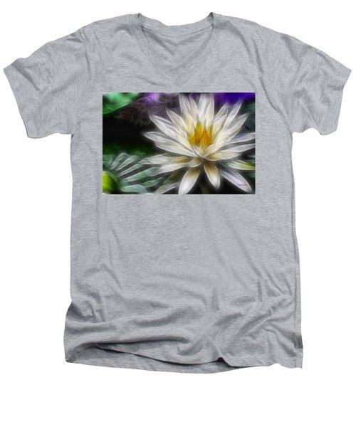 Men's V-Neck T-Shirt featuring the digital art Waterlily In Pseudo-fractal by Lynne Jenkins