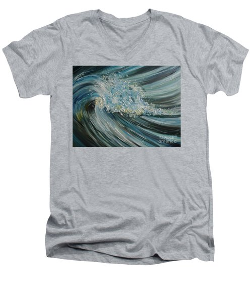 Men's V-Neck T-Shirt featuring the painting Wave Whirl by Julie Brugh Riffey