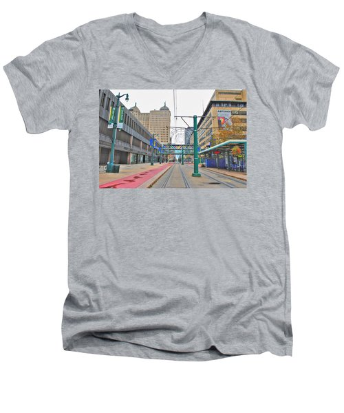 Men's V-Neck T-Shirt featuring the photograph Welcome To Dt Buffalo by Michael Frank Jr