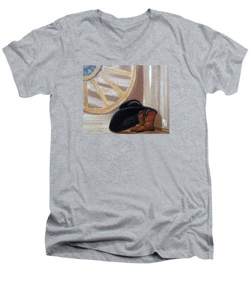 Western Art Work For Luke Men's V-Neck T-Shirt by Margaret Harmon