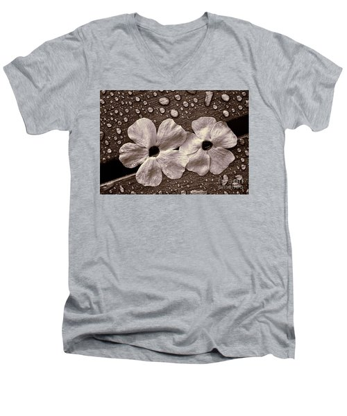 Wet Flowers And Wet Table Men's V-Neck T-Shirt by Ari Salmela