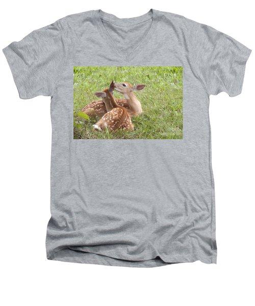 Whispering Fawns Men's V-Neck T-Shirt by Jeannette Hunt