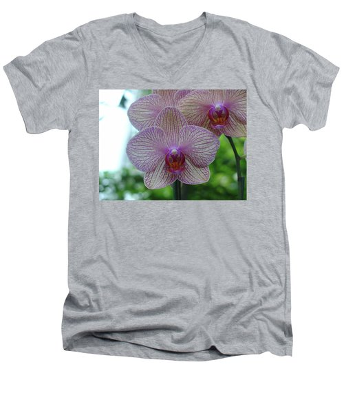 White And Pink Orchid Men's V-Neck T-Shirt