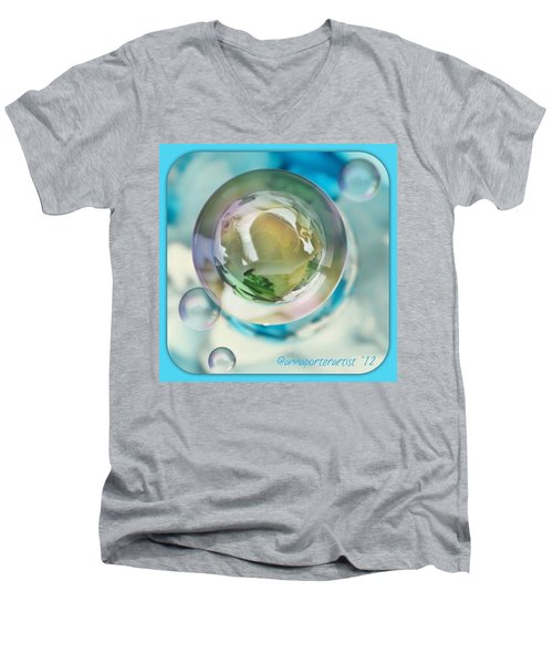 White Gladiola Marble In A Bubble Men's V-Neck T-Shirt