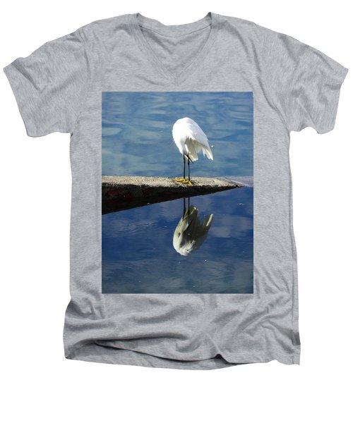 White Heron Men's V-Neck T-Shirt by Anne Mott