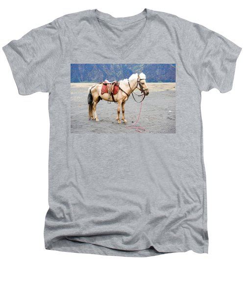 Men's V-Neck T-Shirt featuring the photograph White Horse by Yew Kwang
