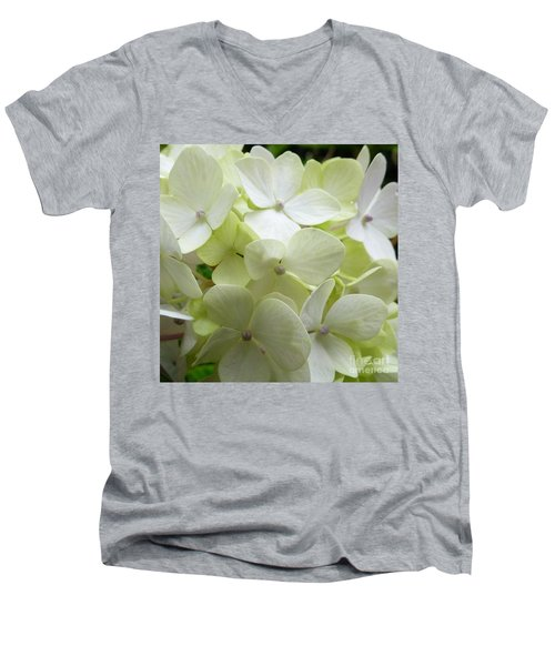 Men's V-Neck T-Shirt featuring the photograph White Hydrangea by Barbara Moignard