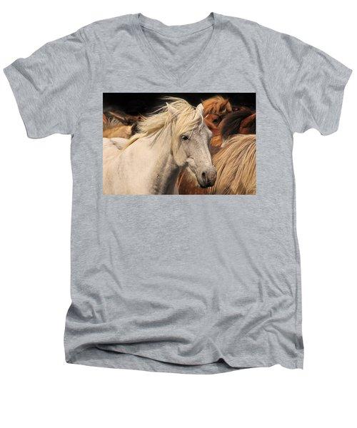 White Icelandic Horse Men's V-Neck T-Shirt