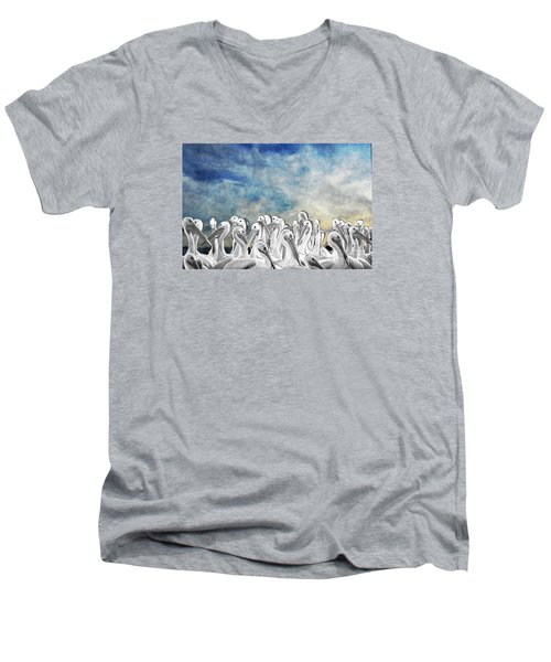 Men's V-Neck T-Shirt featuring the photograph White Pelicans In Group by Dan Friend