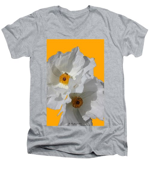 White Poppies On Yellow Men's V-Neck T-Shirt by Betty Northcutt