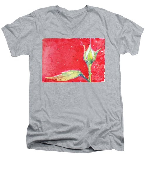 White Rosebud Men's V-Neck T-Shirt