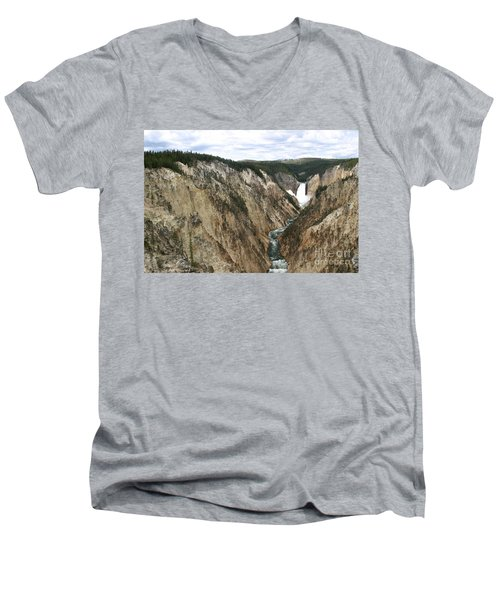 Men's V-Neck T-Shirt featuring the photograph Wide View Of The Lower Falls In Yellowstone by Living Color Photography Lorraine Lynch