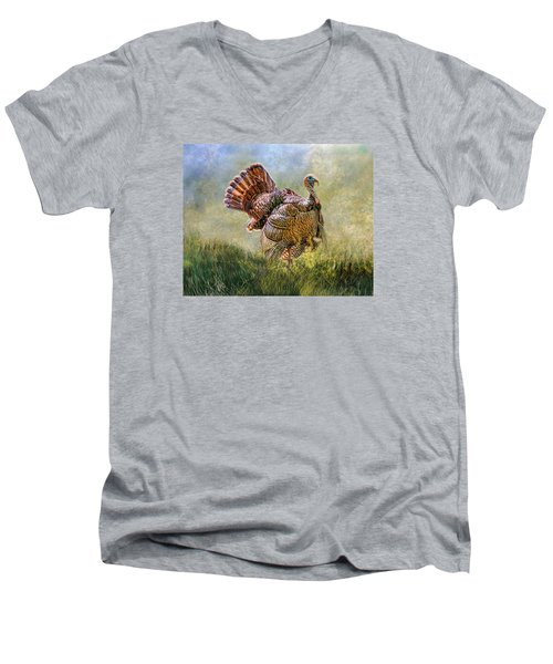 Men's V-Neck T-Shirt featuring the digital art Wild Turkey by Mary Almond