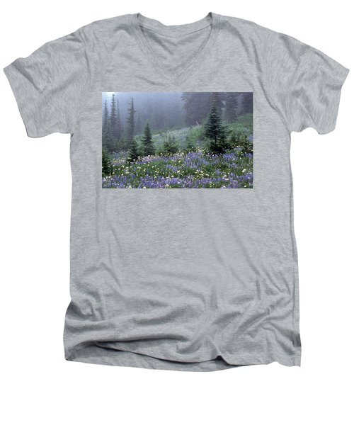 Wildflower Meadow Mt Rainier Men's V-Neck T-Shirt