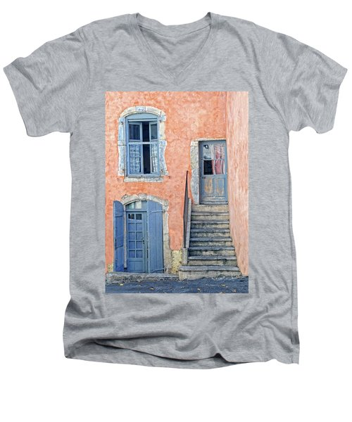 Men's V-Neck T-Shirt featuring the photograph Window And Doors Provence France by Dave Mills