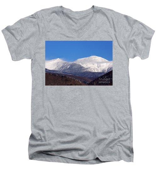 Windy Day At Mt Washington Men's V-Neck T-Shirt