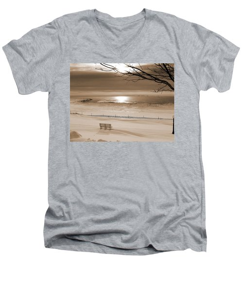 Winter Beach Morning Sepia Men's V-Neck T-Shirt