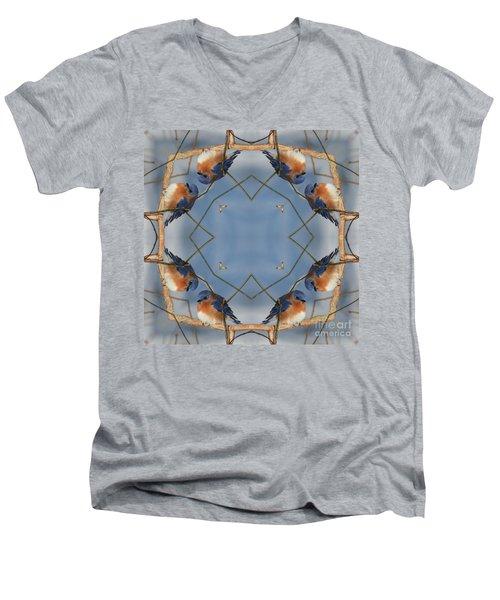 Winter Bluebird Kaleidoscope Men's V-Neck T-Shirt by Smilin Eyes  Treasures