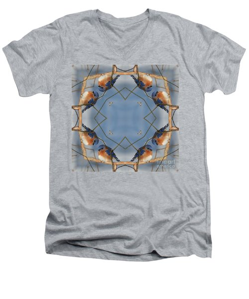 Winter Bluebird Kaleidoscope Men's V-Neck T-Shirt