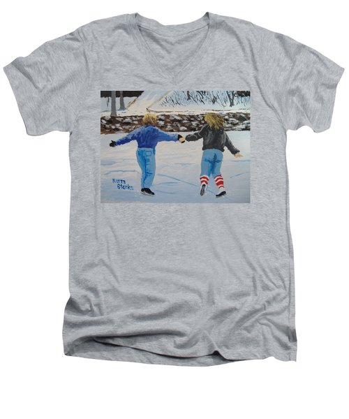 Men's V-Neck T-Shirt featuring the painting Winter Fun by Norm Starks