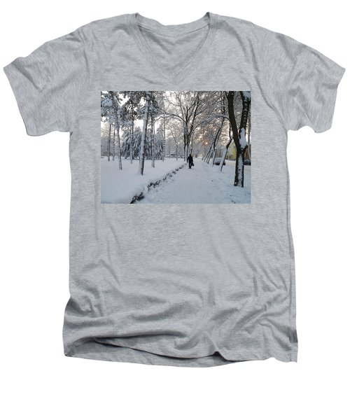 Men's V-Neck T-Shirt featuring the photograph Winter In Mako by Anna Ruzsan