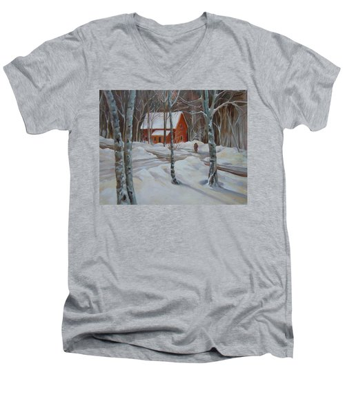 Winter In The Woods Men's V-Neck T-Shirt