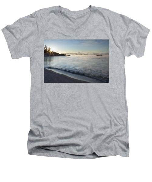Men's V-Neck T-Shirt featuring the photograph Winter Mist On Lake Superior At Sunrise by Susan Dykstra