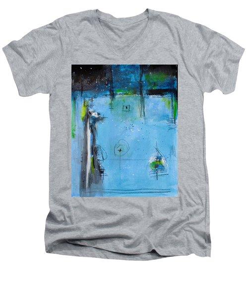 Winter Men's V-Neck T-Shirt by Nicole Nadeau