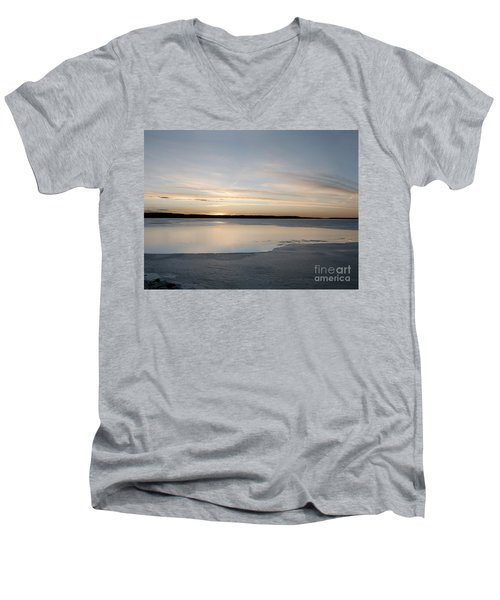 Winter Sunset Over Lake Men's V-Neck T-Shirt