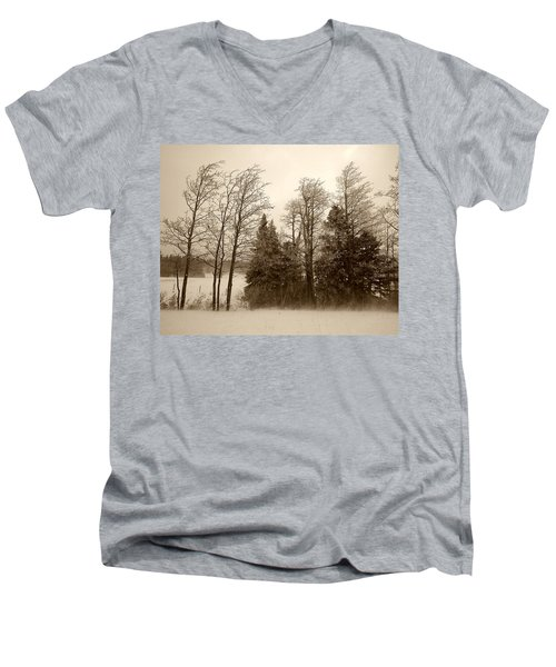 Men's V-Neck T-Shirt featuring the photograph Winter Treeline by Hugh Smith