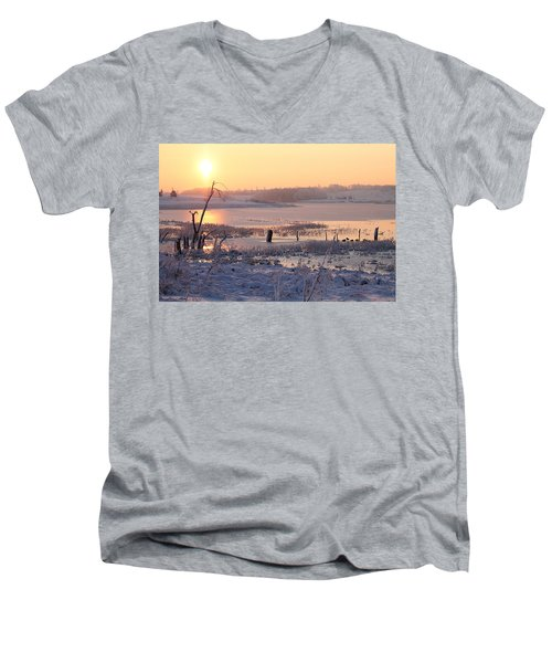 Men's V-Neck T-Shirt featuring the photograph Winter's Morning by Elizabeth Winter