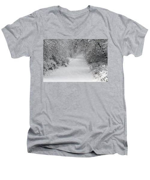 Men's V-Neck T-Shirt featuring the photograph Winter's Trail by Elizabeth Winter