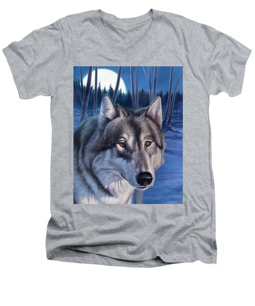 Wolf In Moonlight Men's V-Neck T-Shirt