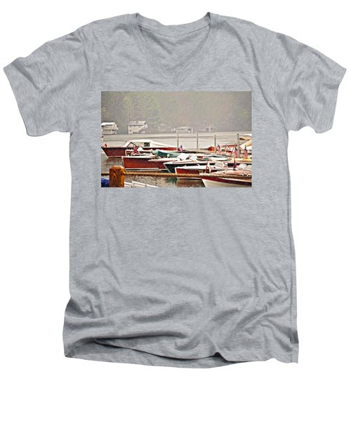 Wood Boats In The Rain Men's V-Neck T-Shirt