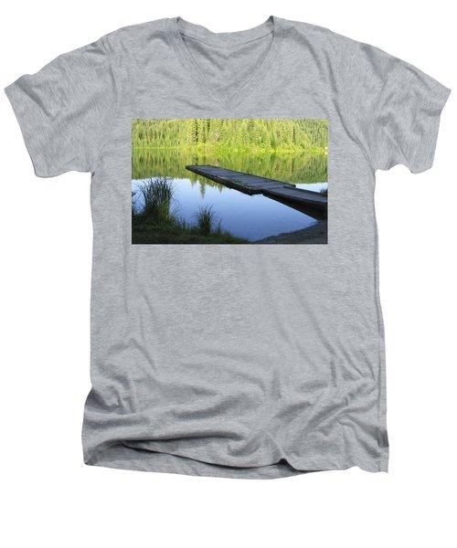 Wooden Dock On Lake Men's V-Neck T-Shirt by Anne Mott