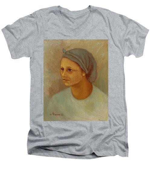 Working Woman Men's V-Neck T-Shirt by Rachel Hershkovitz