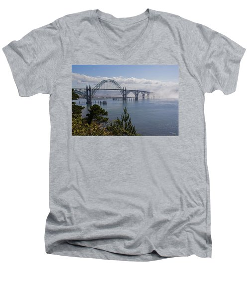Men's V-Neck T-Shirt featuring the photograph Yaquina Bay Bridge by Mick Anderson